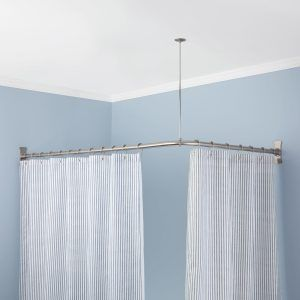 L Shaped Shower Curtain Rod With Ceiling Support Corner Shower Curtain Rod Corner Shower Corner Bath Shower