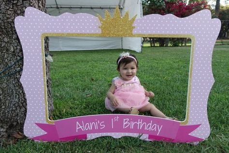 Princess Birthday Frame, First Birthday Party, Photo Booth Frame, Pink Princess Birthday Party