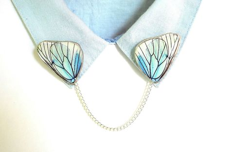 Unique natural look for a classy collar. Collar Chain, Collar Clips, Jewelry Accessories, Fashion Accessories, Funky Jewelry, Butterfly Gifts, Butterfly Pin, Mode Costume, Diy Accessoires