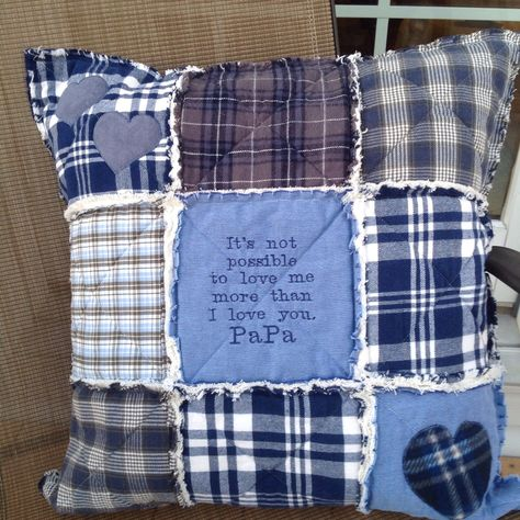 Updates from RagQuiltsnPillowsUSA on Etsy : My quilted memory pillow covers make wonderful gifts anytime of year! Memory Pillow From Shirt, Memory Pillows, Memory Quilts, Keepsake Crafts, Memory Crafts, In Memory Gifts, How To Make Pillows, Diy Pillows, Shirt Pillows