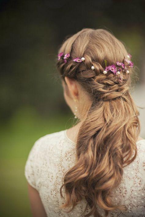 purple floral crown wedding long hair