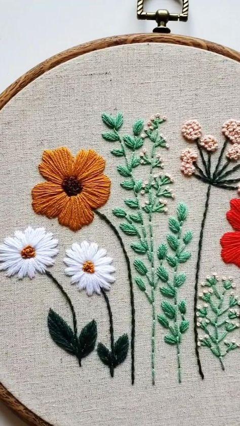 Wildflower embroidery hoop