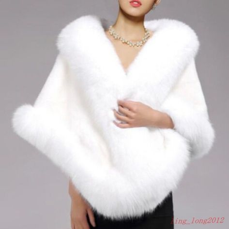 Women White Warm fox Fur Wedding Wraps Shrug Bolero Bridal Coat Fur Shawl Cape