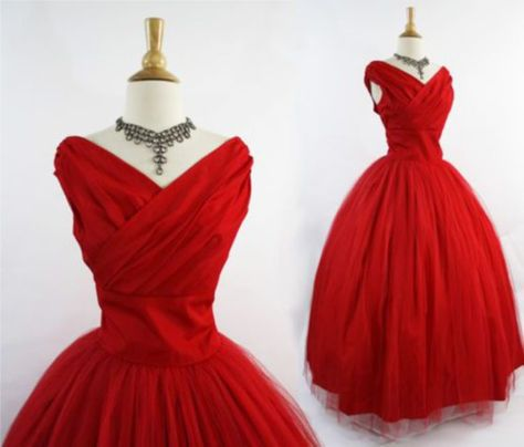 dress vintage 50s style red dress ball gown dress rockabilly prom dress tulle skirt taffeta 50s style