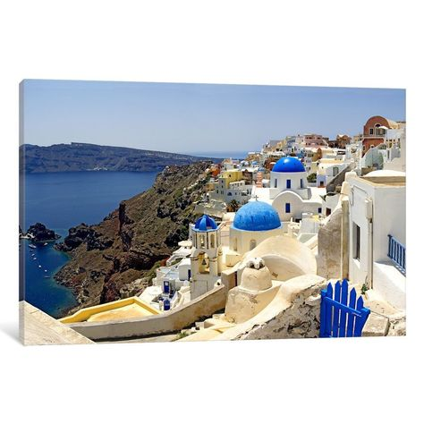 iCanvas High angle view of a church, Oia, Santorini, Cyclades Islands, Greece by Panoramic Images Ca