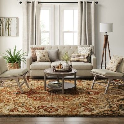 10 X13 Floral Woven Area Rug Beige Threshold In 2020 Decor Living Room Designs Living Room Decor