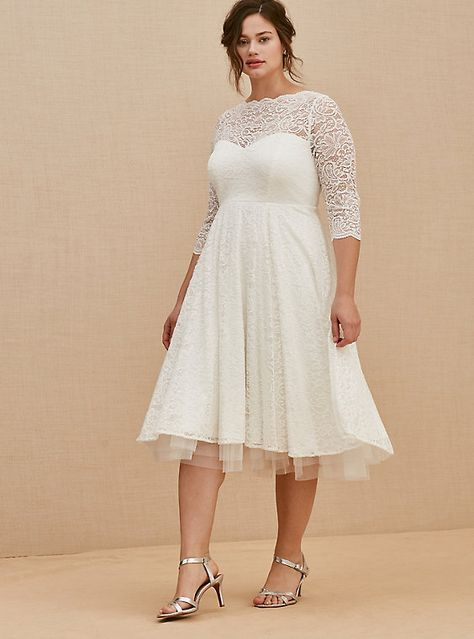 Ivory Lace Tea-Length Wedding Dress, CLOUD DANCER