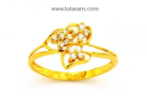 22K Gold Ring for Women with Cz: Totaram Jewelers: Buy Indian Gold jewelry & 18K Diamond jewelry