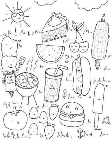 Bbq Food Coloring Pages Pics
