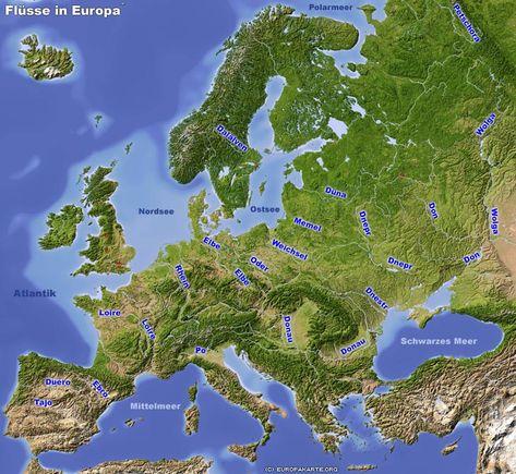 Die Langsten Flusse Auf Der Europakarte Europa Landkarten