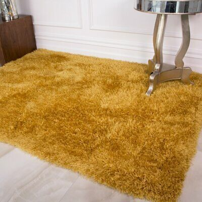 Colours Ochre Yellow Gold Design Solid Colour Thick Warm Shaggy Shag Fluffy Consistency N Rugs In Living Room Shaggy Rug Living Room Carpets Area Rugs