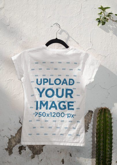 Download Click To Use This Template Mockup Of The Back Of A T Shirt Hanging Next To A Cactus 33864inspiration Ideas Examples Mockup Shirt Mockup Mockup Mockup Design