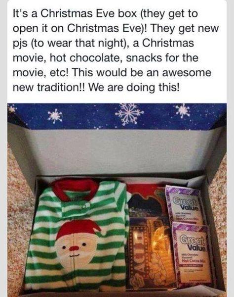 Christmas Eve box - new PJs to wear on Christmas Eve, a Christmas