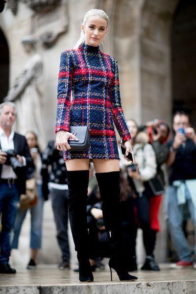 A Plaid Mini Dress - The Best Outfits Worn to Paris Fashion Week - Photos