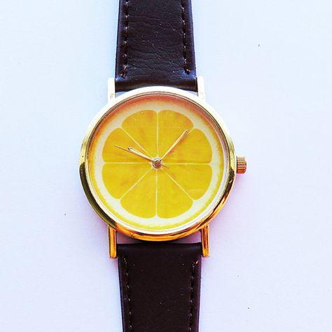 Tranche de citron Fruit montre, montres femmes, citron bijoux, montre cuir, citron, breloque montre dames montre, or, argent, jaune, impression, Quartz