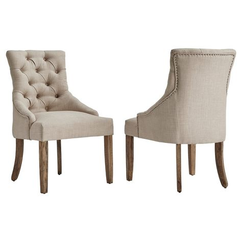 Set Of 2 Lawler Button Tufted Dining Chair Oatmeal Inspire Q