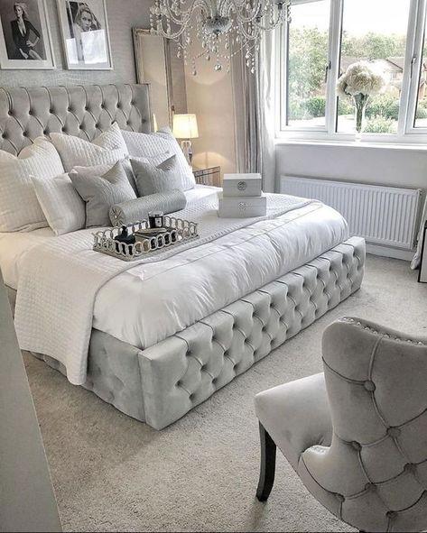 Grey Bedroom Design, Grey Bedroom Decor, Bedding Master Bedroom, Girl Bedroom Designs, Stylish Bedroom, Room Ideas Bedroom, Diy Bedroom, Silver And Grey Bedroom, Glam Bedding