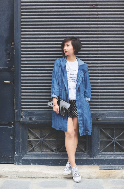 Le monde de Tokyobanhbao: Loose-Fitting Denim Jacket + Simple White Tee + Black Dotted Skirt + White Patterned Low-Top Sneakers