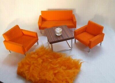 Sofa Armchair Seating Corduroy Orange Bodo Hennig 70er J Doll Dolls House Ebay Doll House Sofa Armchair Dollhouse Toys