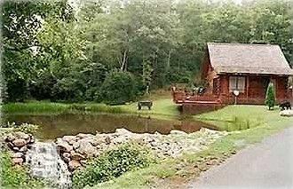 Bear Necessity Log Cabin Trout Pond Waterfall Murphy Cabin Pond Log Cabin