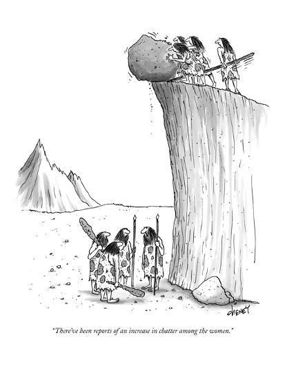 """Premium Giclee Print: """"There've been reports of an increase in chatter among the women."""" - New Yorker Cartoon by Tom Cheney : Cartoon Posters, Cartoon Jokes, Funny Cartoons, Funny Jokes, Funny Gifs, Far Side Cartoons, Far Side Comics, Gary Larson Cartoons, Thursday Humor"""