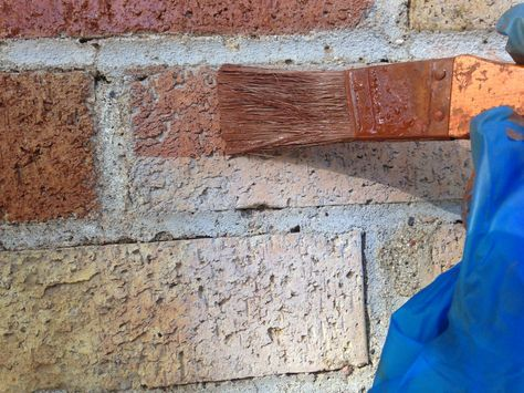 I used brick stain to update our old yellow brick. Hahaha let's paint the brick too!