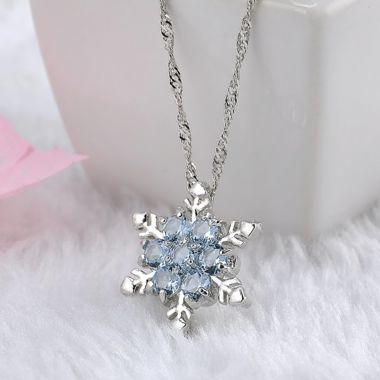 Charme dame Cristal Bleu Flocon De Neige Frozen Fleur Argent Collier Pendentif D