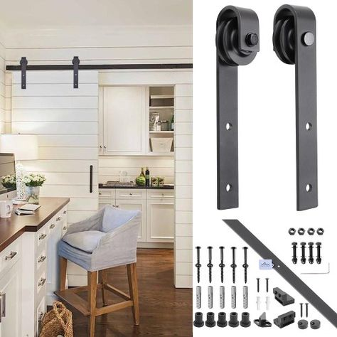 Yescom 6 6 Ft Sliding Barn Door Track European Country Style With Steel Silver Hardware Kit Sliding Door Hardware Interior Barn Doors Sliding Barn Door Hardware