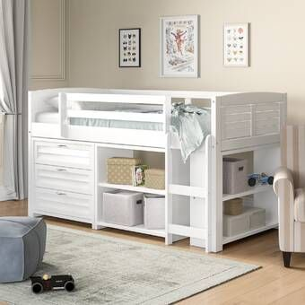 Tressa Twin Low Loft Bed With Drawers And Shelves In 2020 Modern Twin Beds Twin Bed With Drawers Bed With Drawers