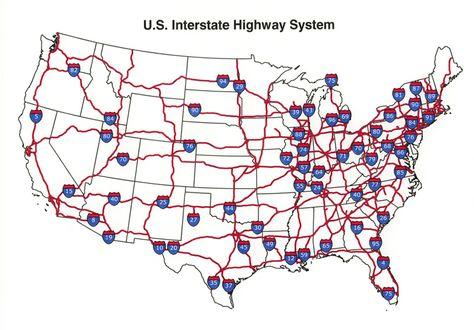 U.S. Interstate highway map | Interstate highway map ...