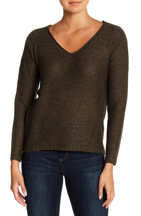 83b6c2f691d Modern Designer - V-Neck Knit Faux Suede Elbow Patch Sweater | Want ...