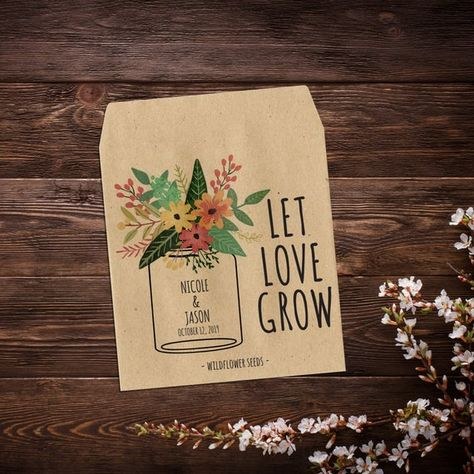Seed Packet Wedding Favors, Personalized With #seedpackets #seedfavors #weddingfavors #weddingseedfavor #letlovegrow #bohowedding #customseedpackets #masonjarfavor #bridalshowerfavor #seedpacketfavors #seedweddingfavors #seedenvelopes #weddingfavor
