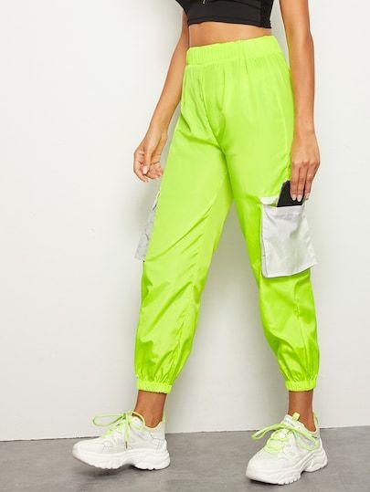 Pantaloni Cargo Neon Lime Con Tasca Laterale Con Patta Shein Pantalones Cargo Ropa De Neon Metaleras Ropa
