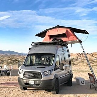 Aluminess Roof Rack And Ladder On This Ford Transit Extra Sleeping Quarters With A Tepui Rooftop Tent Ford Transit Ford Transit Conversion Roof Top Tent