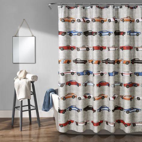 Race Cars Shower Curtain Blue Orange 72x72 Lush Decor 16t003145