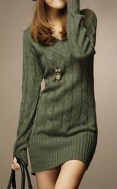 Comfy Vintage Style Khaki V-Neck Long Sleeve Solid Color Women's Cable knit Sweater Dress
