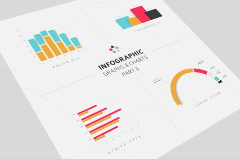 Infographic Graphs & Charts flat 2 by Orson on Creative Market