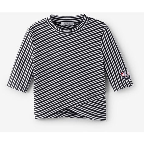Embellished Stripe Short-Sleeve Top (€45) ❤ liked on Polyvore featuring tops, stripe top, black and white striped top, black white stripe top, black and white top and black and white stripe top