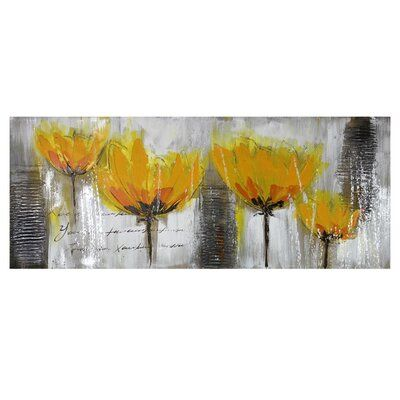 Red Barrel Studio Print On Canvas In 2021 Yellow Flowers Painting Tree Painting Canvas Painting