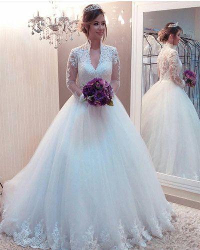 High Collar Wedding Dress Long Sleeves Fancygirldress In 2020 Modest Bridal Gowns High Neck Long Sleeve Wedding Dress Princess Wedding Gown