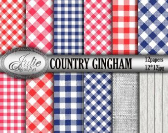 Gingham Digital Paper Navy And Red Country Digital Papers Blue Picnic Table Cloth Background Checkered Paper P Checkered Paper Digital Paper Blue Picnic
