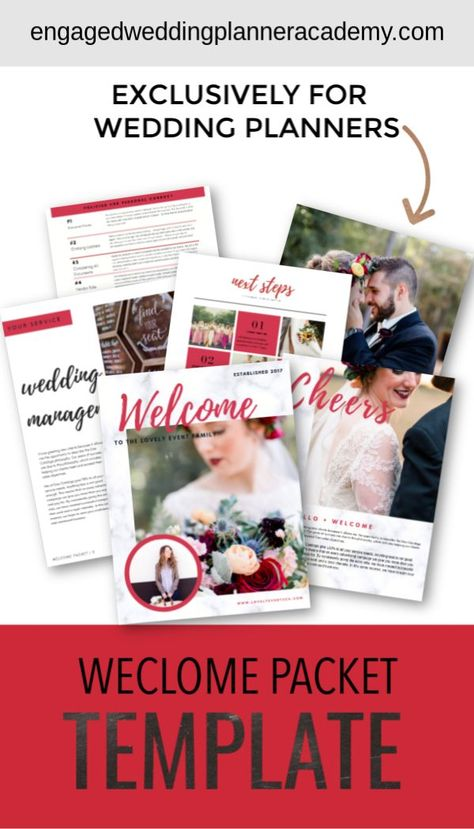 The Lovely Wedding Planner Welcome Packet template is the perfect combination of bold and modern. It was designed for those who love neutral palettes with a pop of color- but you can make it your own with your own colors. | wedding planner business, wedding planner product, wedding planner career, becoming a wedding planner, wedding planning business, wedding professional, wedding business