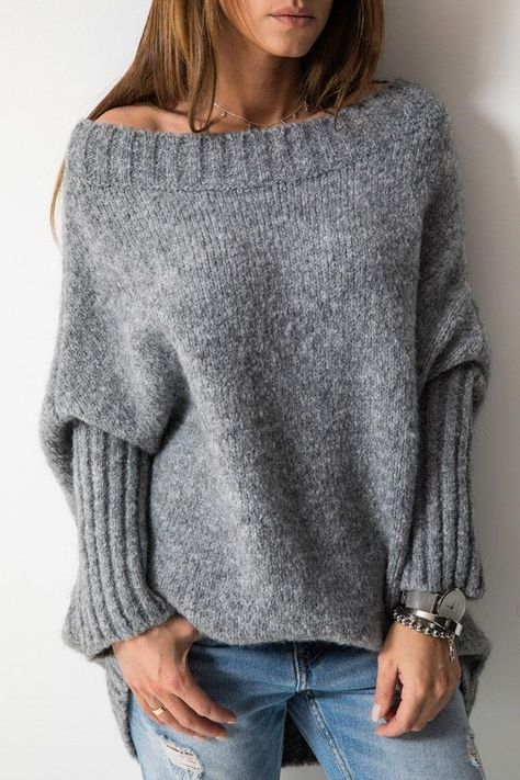 Off the shoulder style,Wide neckline,The perfect jumpers dress to add to your wardrobe in the coming seasons. you can stay warm and look great. In basic gray, this can be worn everyday! Details: Material:Knit SIZE(IN) Bust Length S 53.5 32.7 M 55.1 33.1 L 56.7 33.5 XL 58.3 33.9