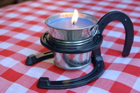 Candle with horseshoe handle summertime by BlacksmithCreations, $45.00