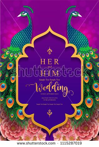 Wedding Invitation Card Templates With Gold Peacock Feathers Patterne Wedding Invitation Cards Indian Wedding Invitation Cards Wedding Invitation Card Template