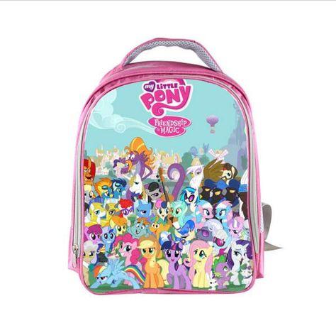 "My Little Pony Large School Backpack 16/"" Book Bag Lunch Bag 2pc Set Black Pink"