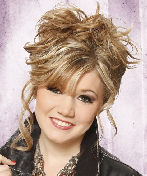 Long Curly Casual Updo Hairstyle Blonde Hair Color With