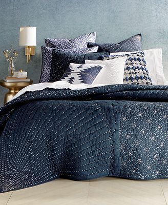 Sashiko Is A Form Of Japanese Folk Embroidery Using A Variation Of Running Stitches To Create Geometric Patterns This Thi King Quilt Macys Bedding Bed Spreads
