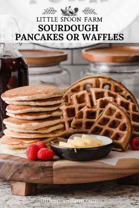 This overnight recipe for sourdough pancakes can be used to make sourdough waffles too! It's so quick and easy to put together using your sourdough starter discard. We test all of our recipes with King Arthur flour for the best fluffy buttermilk pancakes and waffles!