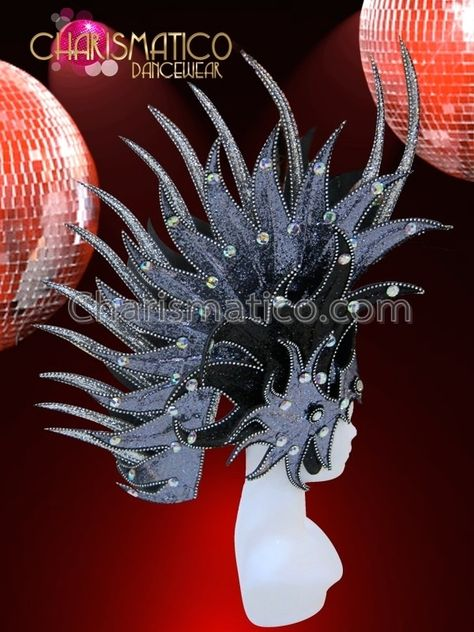 CHARISMATICO Rich Purple glitter flame headdress with mirror and crystal accents